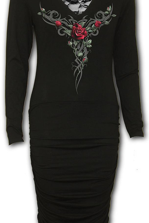 TRIBAL ROSE - Lace Back Midi Gathered Dress (Plain)