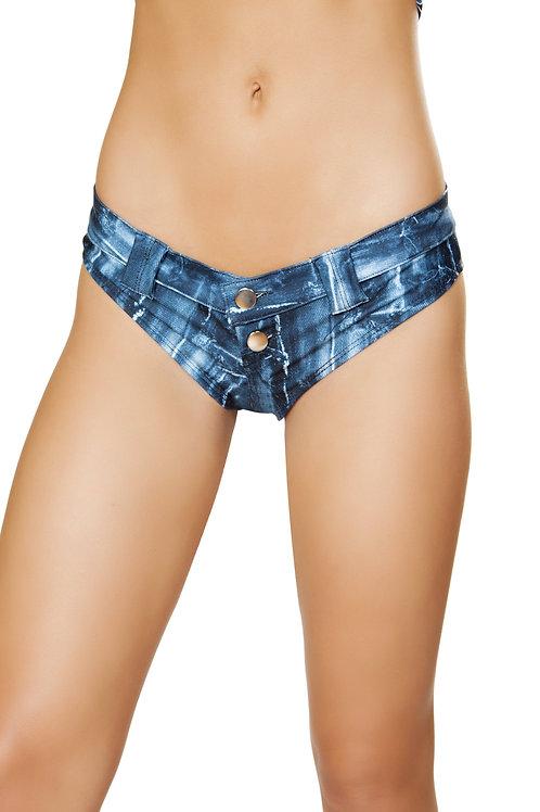 3641 - 1pc Denim Print Mini Booty Shorts