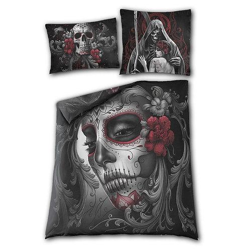 SKULL ROSES - Double Duvet Cover + UK And EU Pillow case