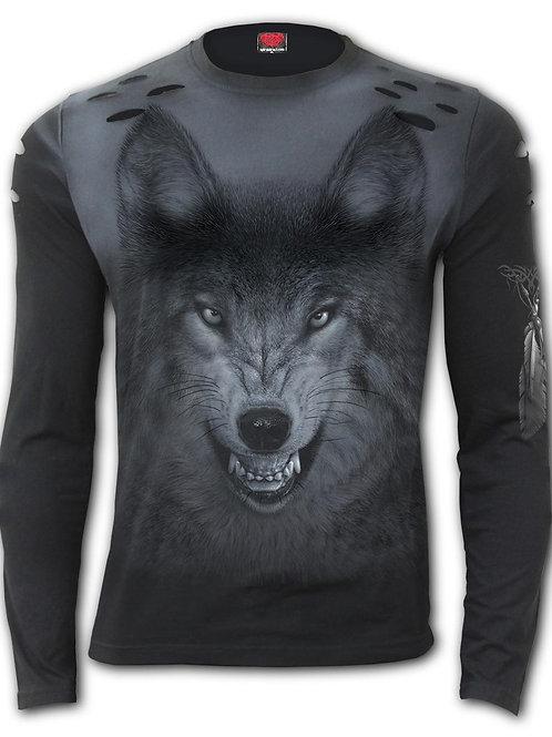 SHADOW WOLF - Distressed Spray On Long Sleeve