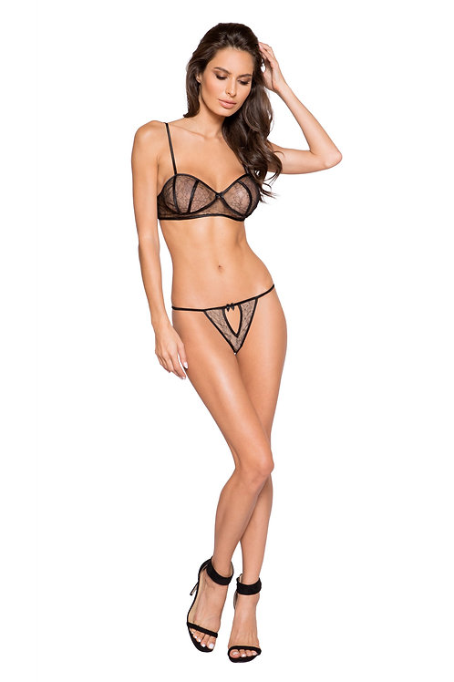 LI250 - Elegant Lace Two Piece Set with Satin Detail & Keyhole Panty
