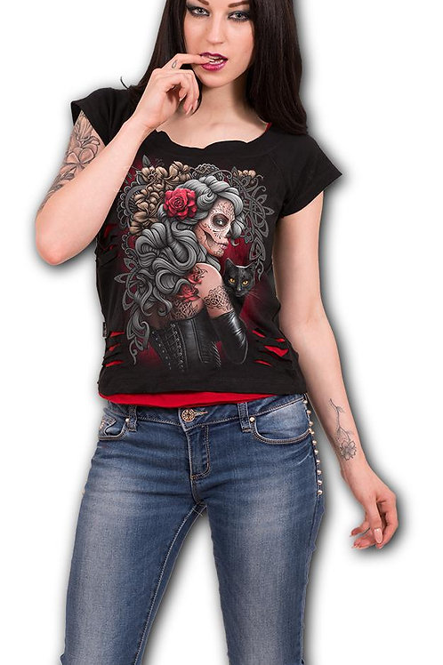 DEAD TATTOO - 2in1 Red Ripped Top Black (Plain)
