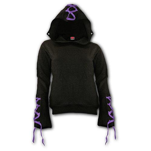 GOTHIC ELEGANCE - Purple Ribbon Gothic Hoody Black (Plain)