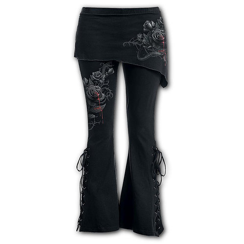 FATAL ATTRACTION - 2in1 Boot-Cut Leggings with Micro Slant Skirt (Plain)