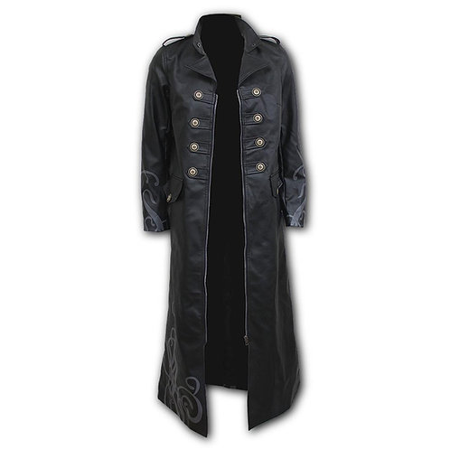 FATAL ATTRACTION - Gothic Trench Coat PU-Leather Corset Back (Plain)