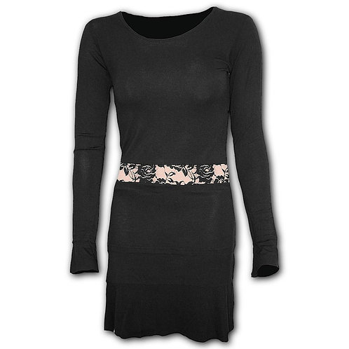 GOTHIC ELEGANCE - Fullsleeve Lace Waist Dress Black (Plain)