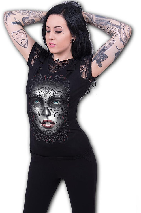 DEATH MASK - 2in1 Ripped Black Lace Top (Plain)