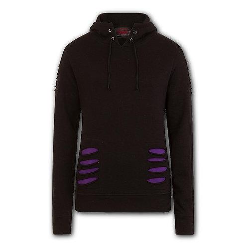 GOTHIC ROCK - Large Hood Ripped Hoody Purple-Black (Plain)