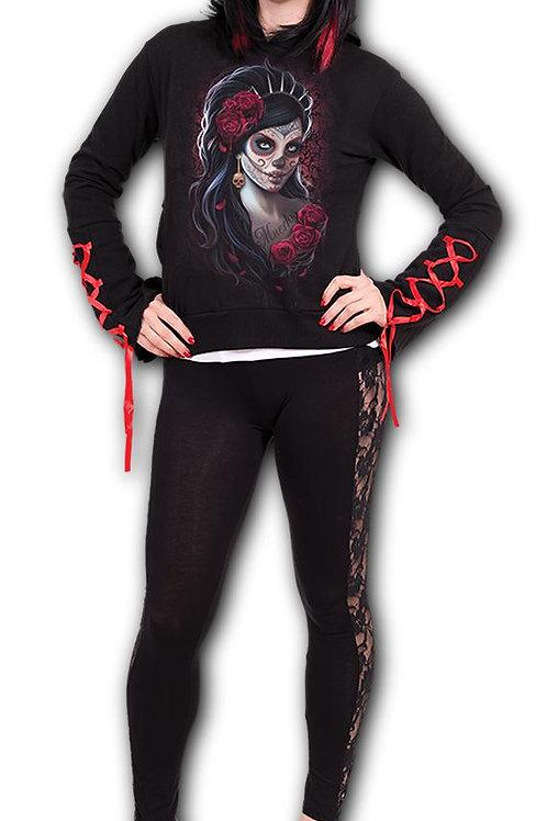 DAY OF THE DEAD - Red Ribbon Gothic Hoody Black (Plain)