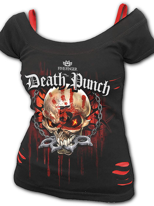 5FDP - ASSASSIN - 2in1 White Ripped Top Plus Size Black (Plain)