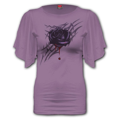 BLACK ROSE DEW - Boat Neck Bat Sleeve Top Purple (Plain)