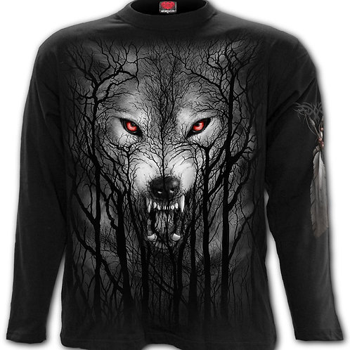 FOREST WOLF - Longsleeve T-Shirt Black (Plain)
