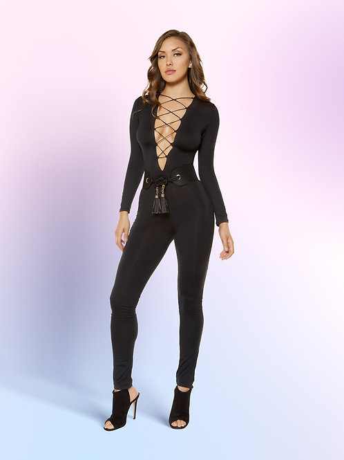3401 - Strappy Lace-up Jumpsuit