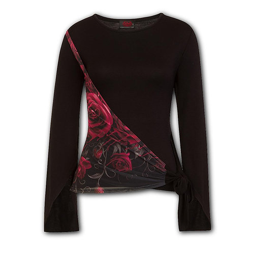 GOTHIC ELEGANCE - Blood Rose Sash Wrap Goth Sleeve Top (Plain)
