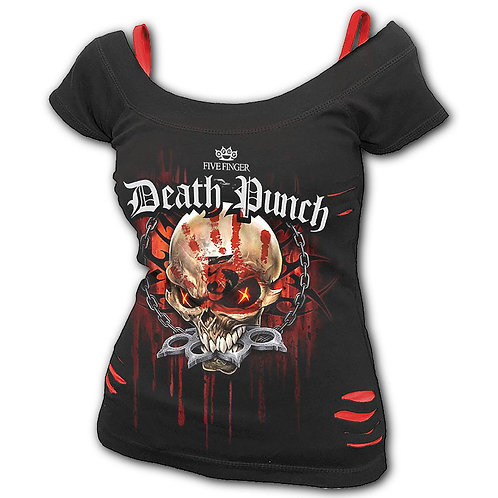 5FDP - ASSASSIN - 2in1 Red Ripped Top Black (Plain)