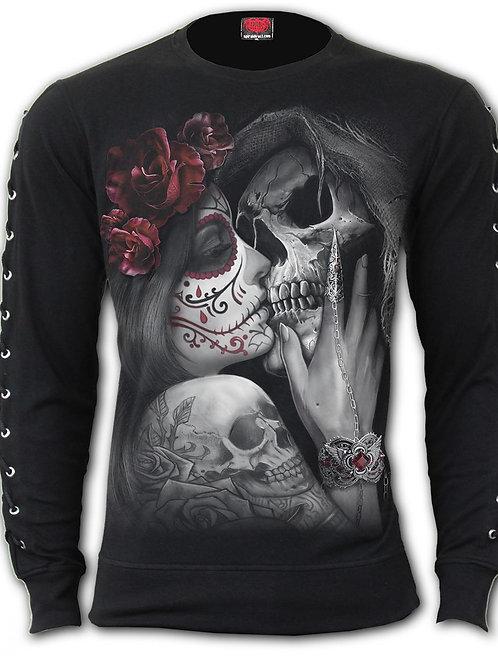 DEAD KISS - Laceup Sleeve Gothic Top (Plain)
