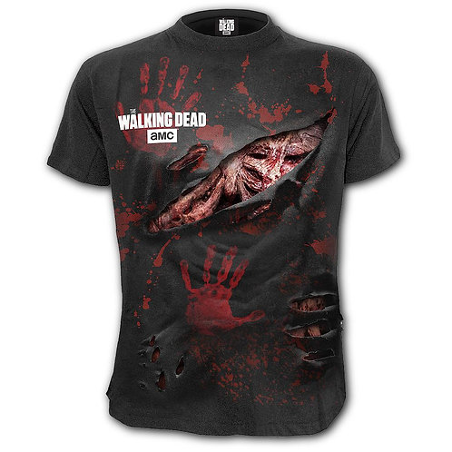 ZOMBIE - ALL INFECTED - Walking Dead Ripped T-Shirt Black (Plain)