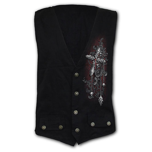 CROSS OF DARKNESS - Gothic Waistcoat Four Button with Lining (Plain)