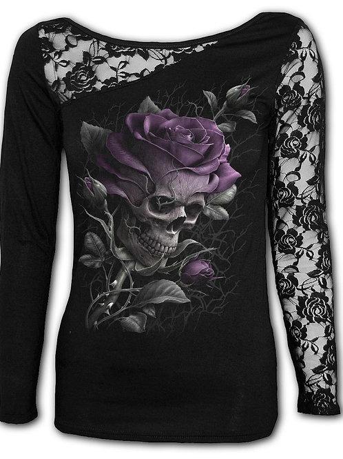 SKULL ROSE - Lace One Shoulder Top Black (Plain)