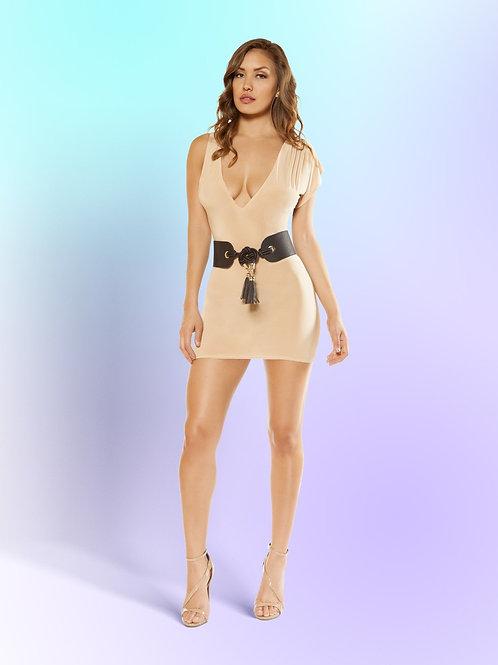3349 - Single Sleeved Mini Dress with Low Cut Collar