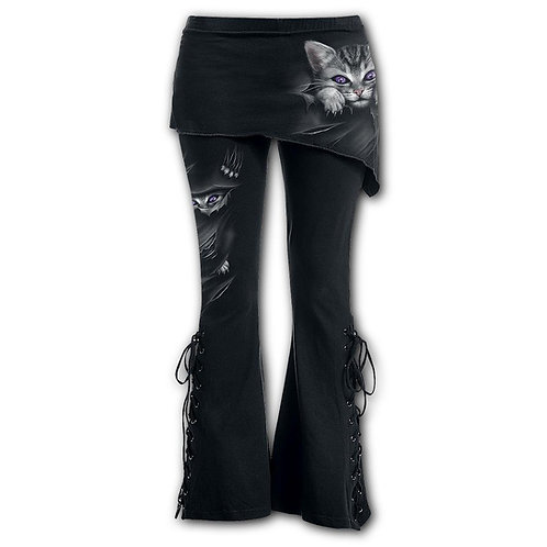 BRIGHT EYES - 2in1 Boot-Cut Leggings with Micro Slant Skirt (Plain)