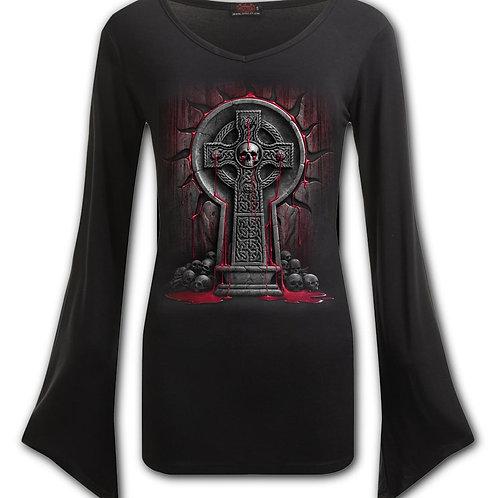 BLEEDING SOULS - V Neck Goth Sleeve Top Black (Plain)
