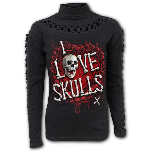 LOVE SKULLS - Watefall Slits Longsleeve Top