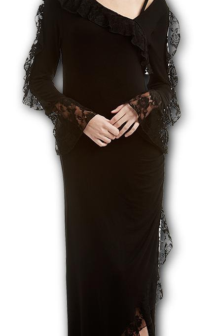 GOTHIC ELEGANCE - Lace Drape Asymmetric Neck Gothic Dress (Plain)