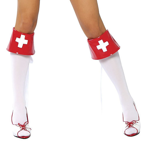 4007B - Red and White Boot Cuffs