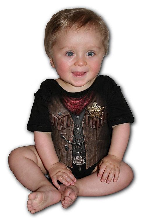 BABY SHERIFF - Baby Sleepsuit Black (Plain)
