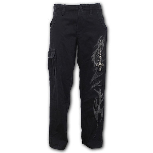 TRIBAL CHAIN - Vintage Cargo Trousers Black (Plain)