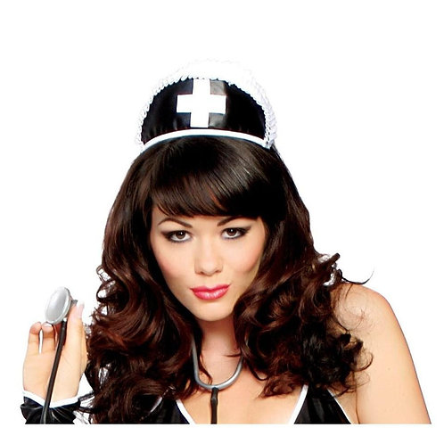 H113 Black Nurse Hat with Cross
