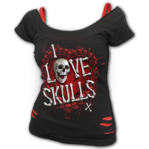 LOVE SKULLS - 2in1 Red Ripped Top Black (Plain)