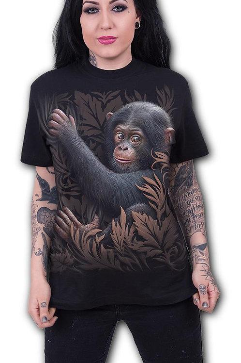 MONKEY BUSINESS - Front Print T-Shirt Black