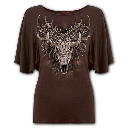 HORNED SPIRIT - Boat Neck Bat Sleeve Top Chocolate (Plain)