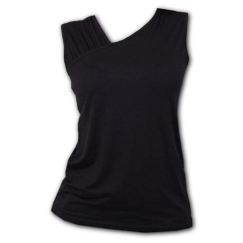 GOTHIC ROCK - Gathered Shoulder Slant Vest Black (Plain)