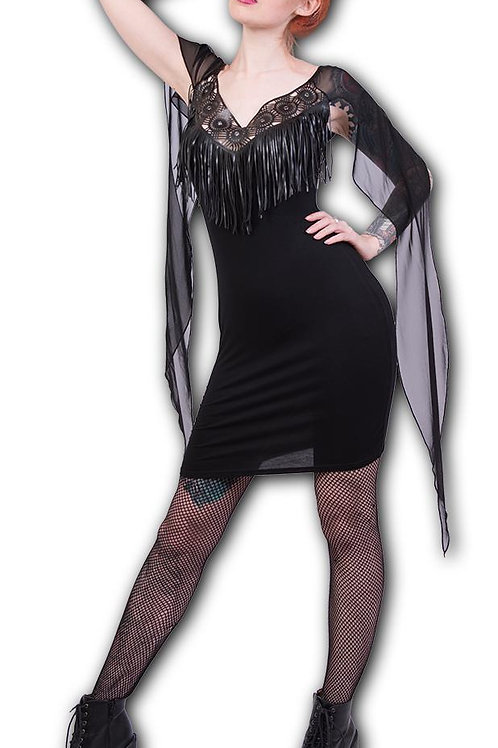 GOTHIC ELEGANCE - Celtic Tassle Dress with Mesh Drape (Plain)