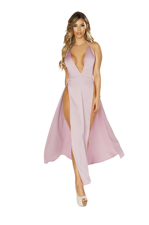 3650 - Maxi Length Satin Dress with High Slits & Deep V