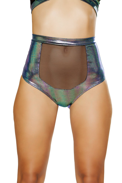 3610 - 1pc High-Waisted Short with Sheer Panel and Cross Back