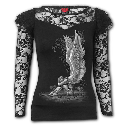 ENSLAVED ANGEL - Lace Layered Long Sleeve Top Black (Plain)
