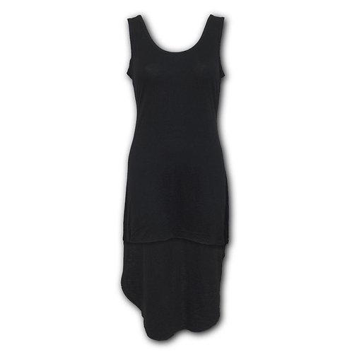 GOTHIC ELEGANCE - Gothic High-Low Hem Dress Black (Plain)