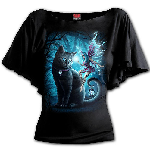 CAT AND FAIRY - Boat Neck Bat Sleeve Top Black (Plain)