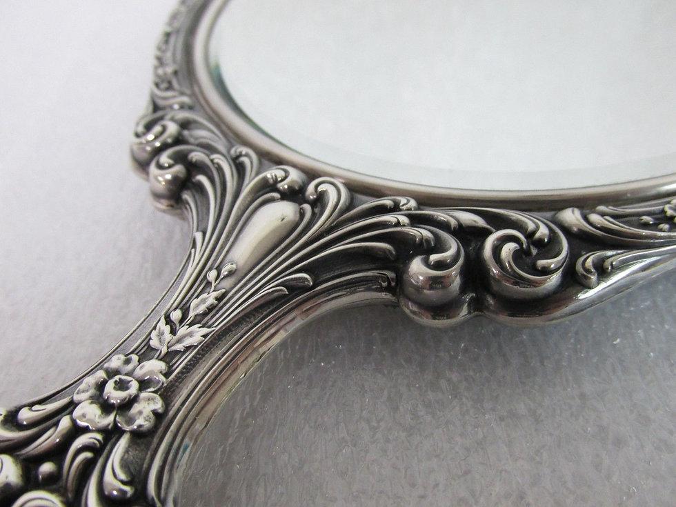 Antique-HANDHELD-MIRROR-Sterling-Silver-