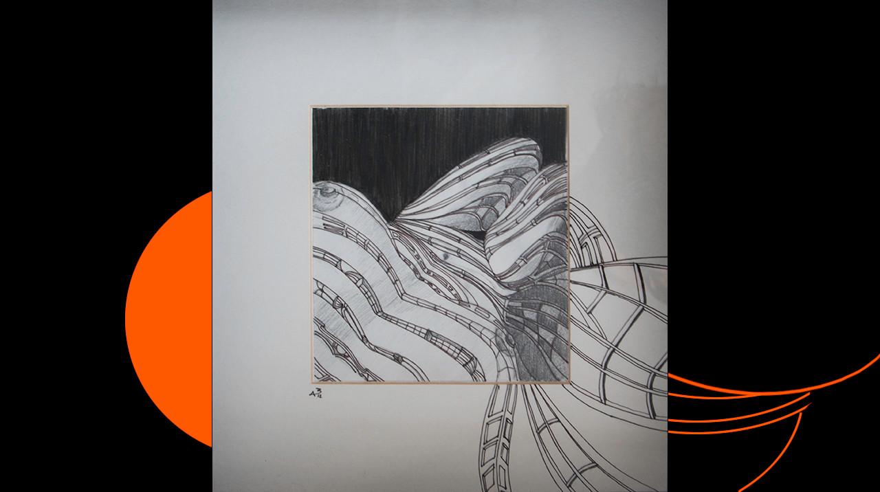"""""""Estructurada I."""" 25,5 x 25,5 cm. Lápiz y rotring sobre papel y paspartú."""
