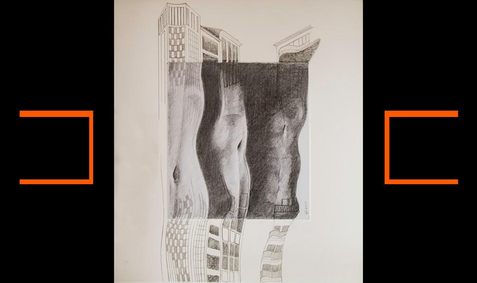"""""""Estructurada II."""" 25,5 x 25,5 cm. Lápiz sobre papel y paspartú."""