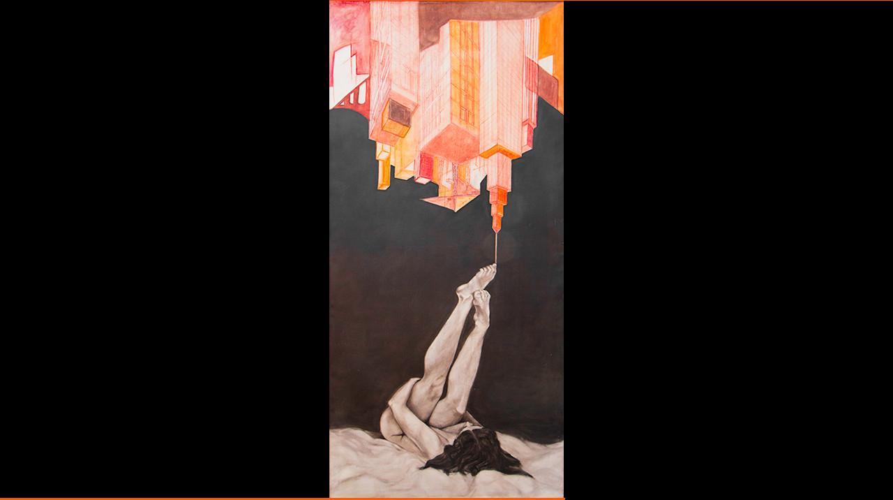 """""""En las nubes."""" 195 x 90 cm. Técnica mixta sobre lienzo."""