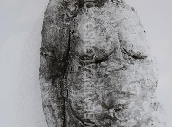 """""""El cuerpo"""". Resina, fibra de vidrio y polvo de escayola. 120 x 65 x 30 cm."""