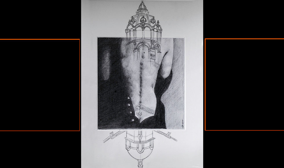 """""""Estructurada III."""" 25,5 x 25,5 cm. Lápiz sobre papel y paspartú."""