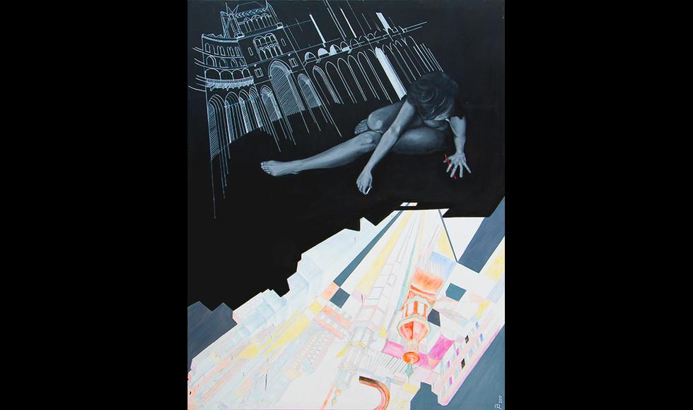 """""""Jugando a crear."""" 195 x 145 cm. Técnica mixta sobre lienzo."""