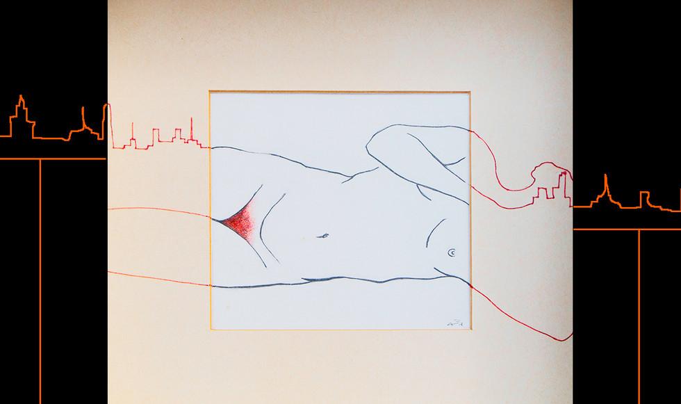 """""""Desnuda arquitectura."""" 25,5 x 25,5 cm. Lápices de color sobre papel y paspartú."""